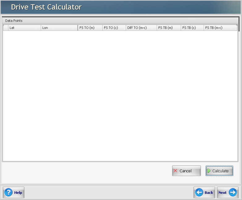 Drive Test Calculator View